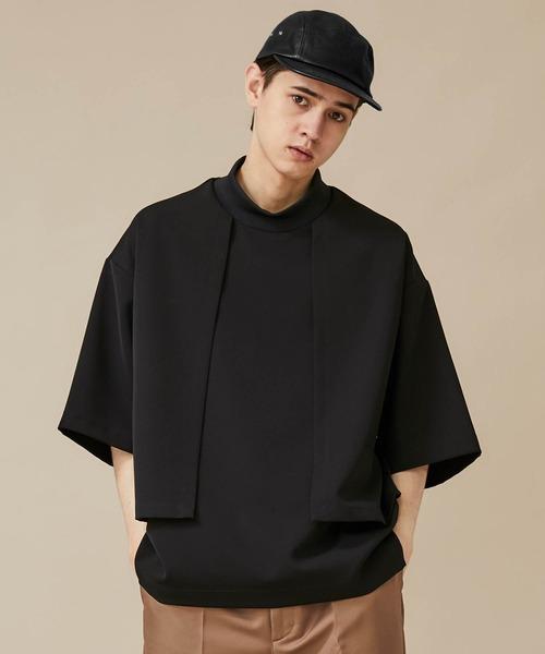 CULLNI(クルニ)の「【CULLNI】EX.MOCK NECK S/S CUTSEWN(Tシャツ/カットソー)」|ブラック