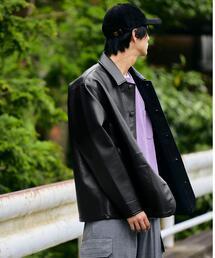 【別注】<BIG MAC×green label relaxing> フェイクレザー カバーオール ジャケット