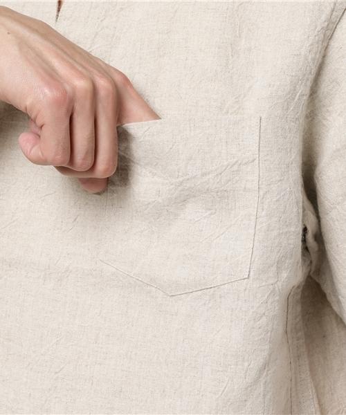 【HOUSTON】キャンバスリネンキーネックシャツTEE