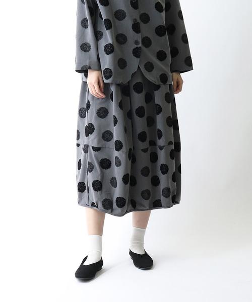 【 BARNDOOR / バーンドア 】 フロッキープリントバルーンスカート 1153011G BUR