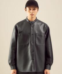 【別注】<BIG MAC×green label relaxing> フェイクレザー バンドカラー シャツ ジャケット