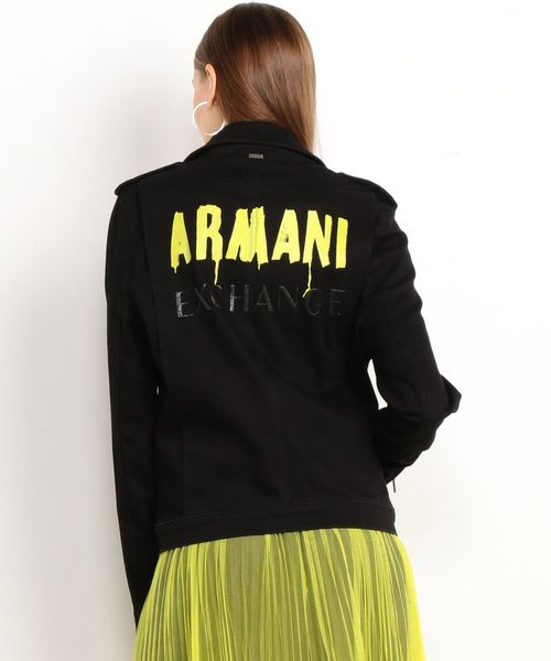 【A Xアルマーニ エクスチェンジ】バックロゴ ライダースジャケット