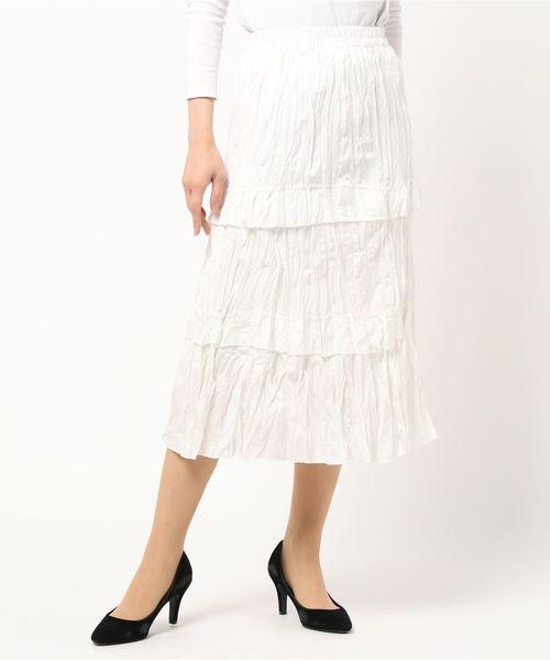 Clice de Paris(クリシェドゥパリス)の「K/クラッシュティアードSK(スカート)」|オフホワイト