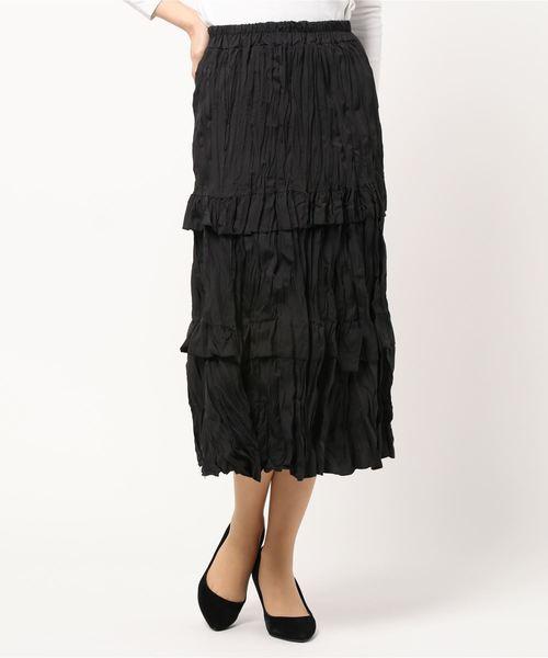 Clice de Paris(クリシェドゥパリス)の「K/クラッシュティアードSK(スカート)」|ブラック