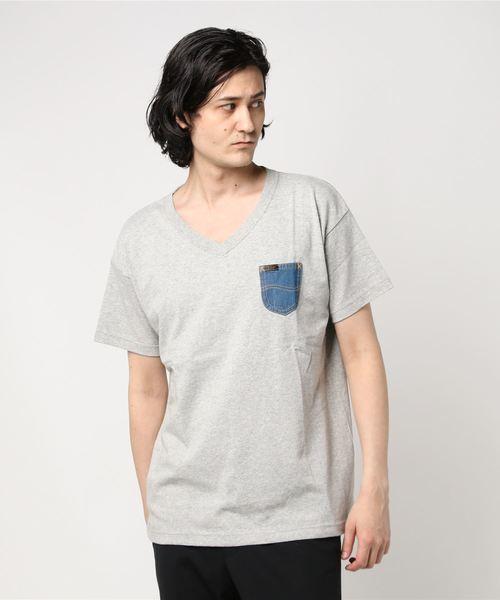 デニムポケットTシャツ Vネック