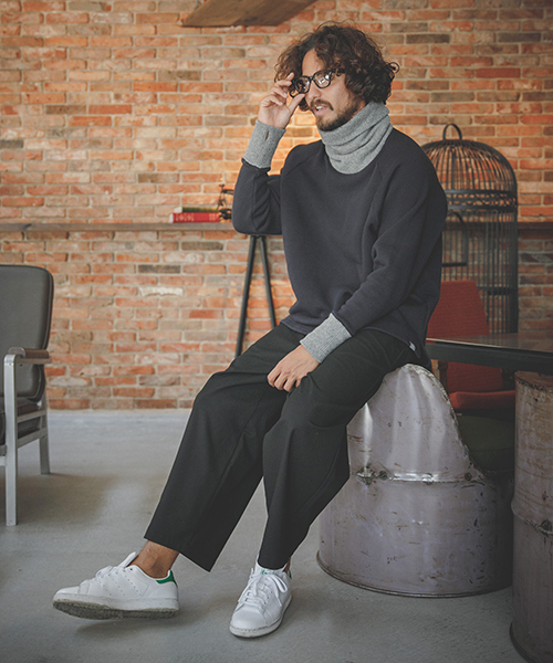 msw515-Knit Combination Turtle Neck Sweat Pullover スウェットプルオーバー(MADE IN JAPAN)