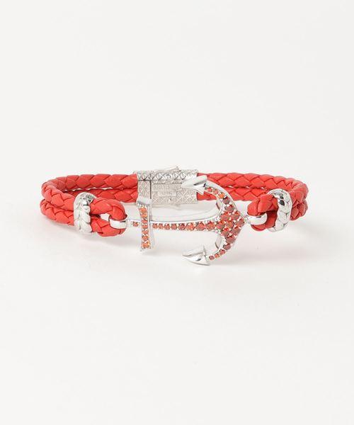 ATOLYESTONE(アトリエストーン)の「Nappa Leather Anchor Bracelet(ブレスレット)」 レッド系その他