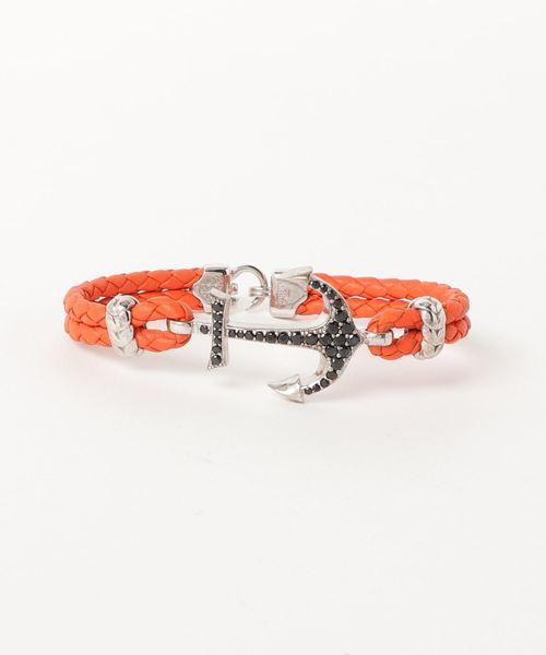ATOLYESTONE(アトリエストーン)の「Nappa Leather Anchor Bracelet(ブレスレット)」 オレンジ