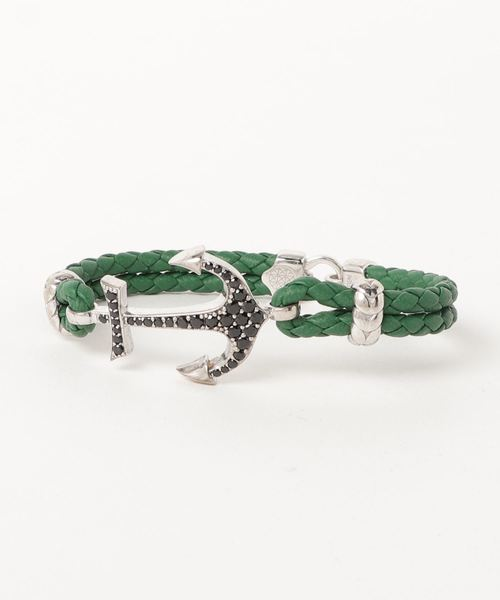 ATOLYESTONE(アトリエストーン)の「Nappa Leather Anchor Bracelet(ブレスレット)」|グリーン