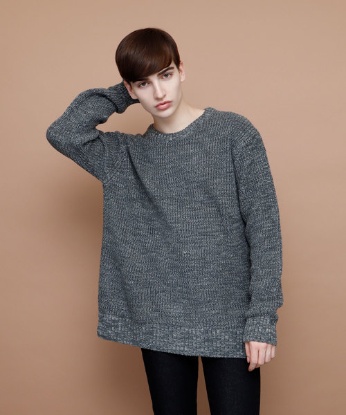 ウールブレンドポップコーン編みニットセーター