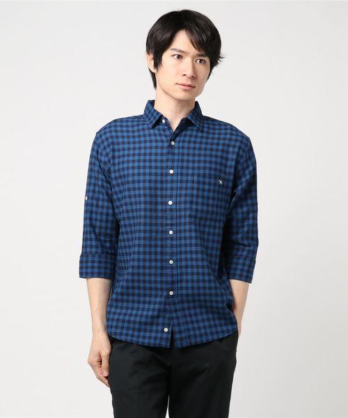 カラミ織りギンガムチェック柄7分袖シャツ
