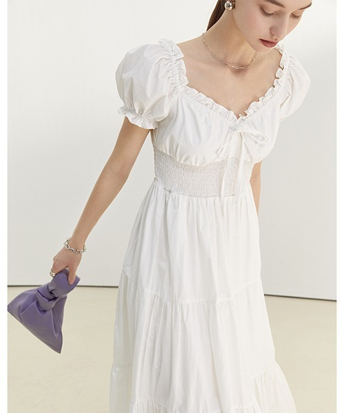 【Fano Studios】【2021SS】Waist gather neck frilled long dress FC21L020