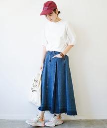 haco!(ハコ)の【再・再入荷!】デニムパネルプリーツスカート(デニムスカート)