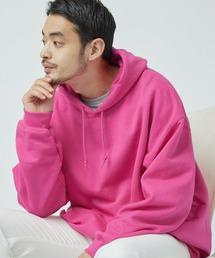 ギルダン USAオーバーサイズ ロングスリーブ プルオーバー パーカー (裏起毛)ピンク系その他