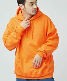 ギルダン USAオーバーサイズ ロングスリーブ プルオーバー パーカー (裏起毛)オレンジ系その他