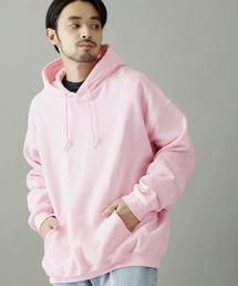 ギルダン USAオーバーサイズ ロングスリーブ プルオーバー パーカー (裏起毛)ピンク