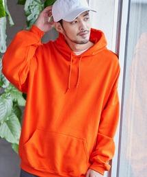 ギルダン USAオーバーサイズ ロングスリーブ プルオーバー パーカー (裏起毛)オレンジ