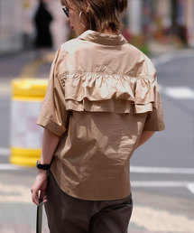 ANDJ(アンドジェイ)の背中フリルオーバーサイズ半袖シャツ(シャツ/ブラウス)