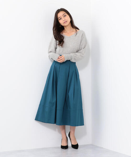 SMF T/C タック 裾切り替えスカート / フレアスカート