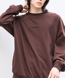 CONVERSE/コンバース 別注 フロント/袖刺繍 オーバーサイズプルオーバースウェットブラウン