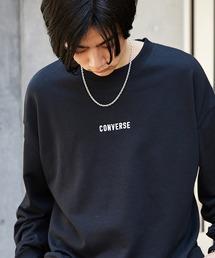 CONVERSE/コンバース 別注 フロント/袖刺繍 オーバーサイズプルオーバースウェットブラック
