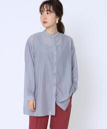 シアーロングバンドカラーシャツ(シアーシャツ)