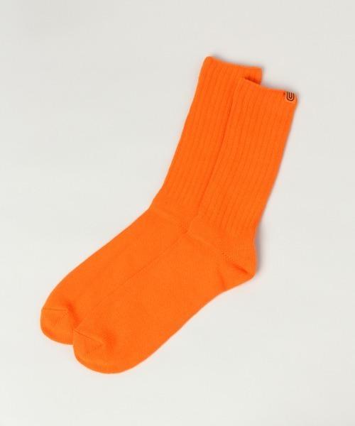 UNIVERSAL OVERALL(ユニバーサルオーバーオール)の「【UNIVERSAL OVERALL/ユニバーサルオーバーオール】リブクルーソックス/935325(ソックス/靴下)」|オレンジ