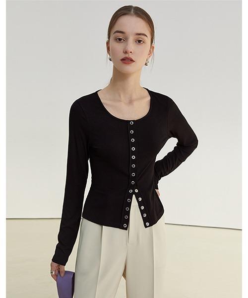 【Fano Studios】【2021SS】Round neck button tight knit FC21S105