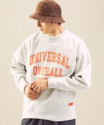 【別注】<UNIVERSAL OVERALL×green label relaxing>ロゴ クルーネック 長袖  スウェット †