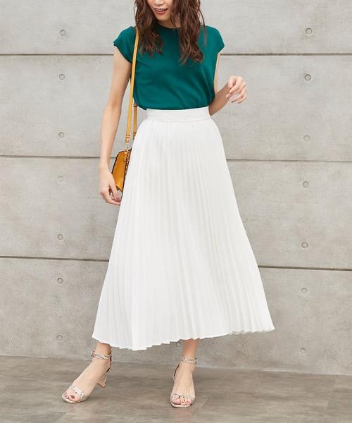 titivate(ティティベイト)の「プリーツロングスカート(スカート)」|ホワイト