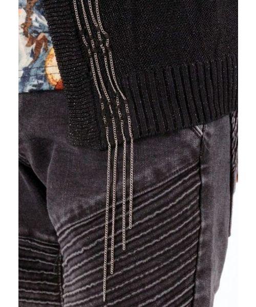 【REGIEVO】セクシーな男のチェーン刺繍カーディガン
