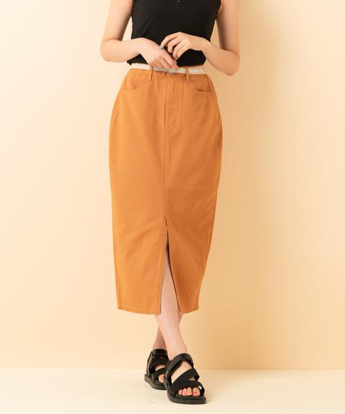 (PVC)ベルト付ナロースカート