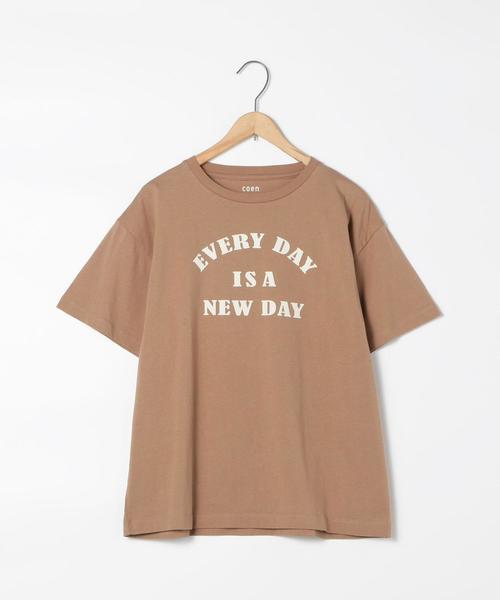 プリントレターメッセージロゴTシャツ