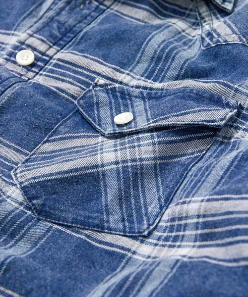 インディゴチェックリバーシブルシャツ