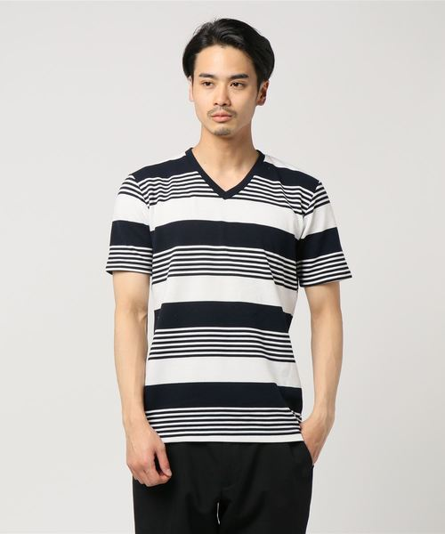 セマンティックデザイン/semantic design リップルボーダーVネック半袖Tシャツ