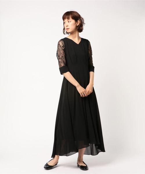 106f88ddc1c8d Dorry Doll(ドーリードール)のシアースリーブアイラインセミロング丈ワンピースドレス《