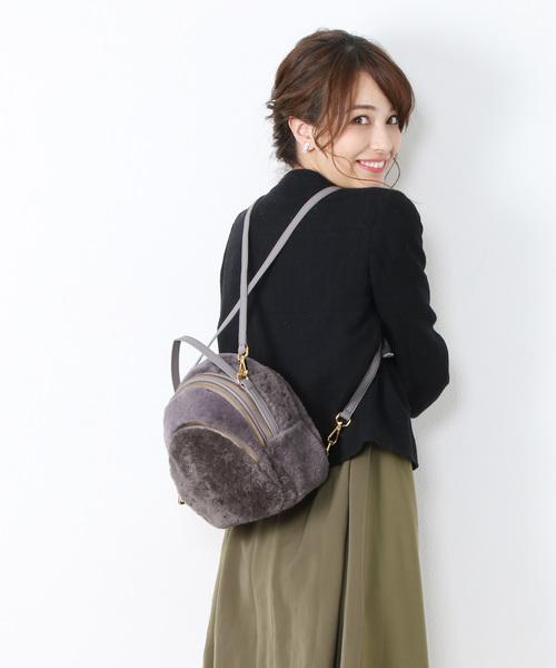 sankyo shokai(サンキョウショウカイ)の「ムートンファー リュック(バックパック/リュック)」 グレー