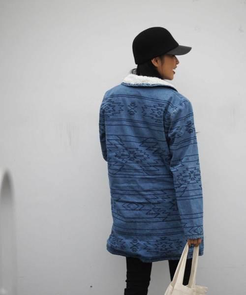 【HOLLOWAVE/ホロウェーブ】デニム刺繍入りビックシルエットロングブルゾン
