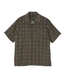 SQUARE&SOUNDS柄 オープンカラーシャツカーキ