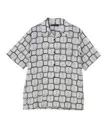 SQUARE&SOUNDS柄 オープンカラーシャツアイボリー