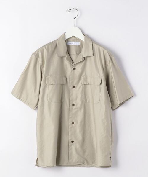 CM ライト モールスキン ダブル パッチ オープンカラー 半袖 シャツ
