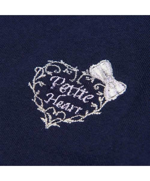 ガールズ プチパレ 刺繍ワンポイント ストライプ柄 半袖ワンピース