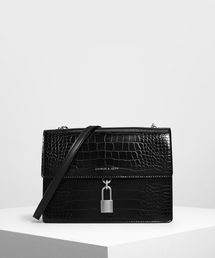 CHARLES & KEITH(チャールズ & キース)のクロックエフェクト パッドロックショルダーバッグ / Croc-Effect Padlock Shoulder Bag(ハンドバッグ)