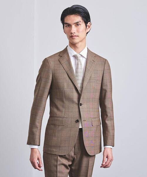 <SOVEREIGN(ソブリン)> ブラウン グレンチェック 3B スーツ†◆