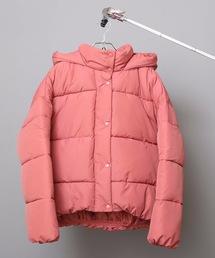 フードフェイクダウンジャケット 軽量で暖かいマイクロタフタの微起毛素材とファイバーダウン使用オレンジ