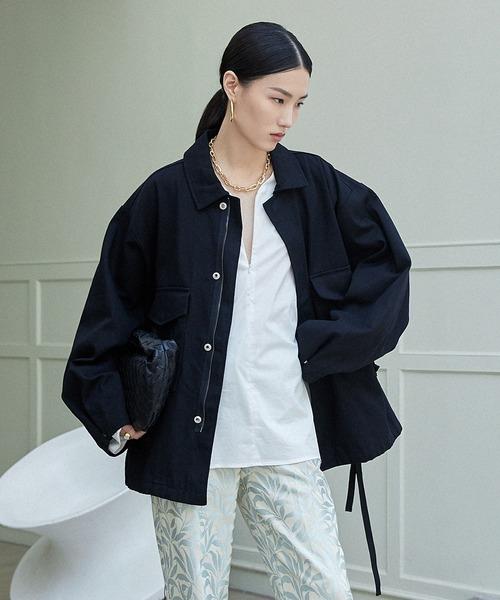 【chuclla】【2021/AW】Cotton soutien collar jacket chwt21a01