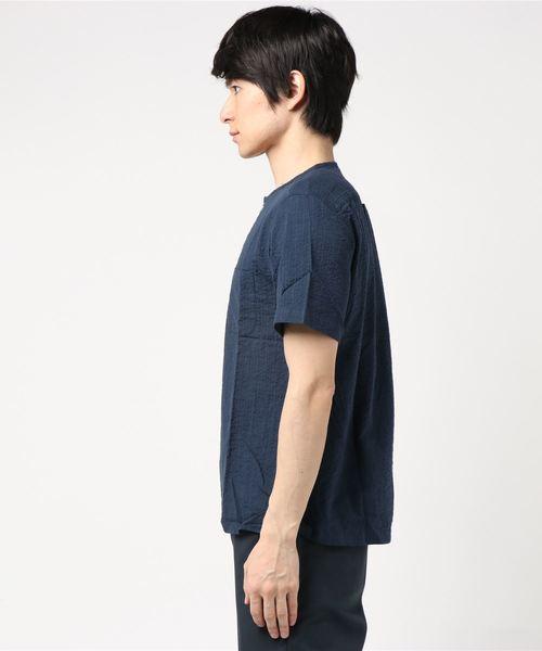 <L&HARMONY / エルアンドハーモニー>プルオーバークルーネック半袖シアサッカーシャツ