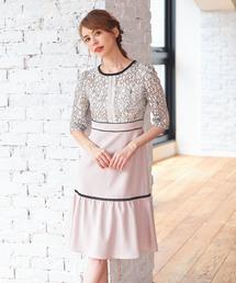 Roomy's(ルーミーズ)のレース配色裾フレアセミオケドレス(ドレス)