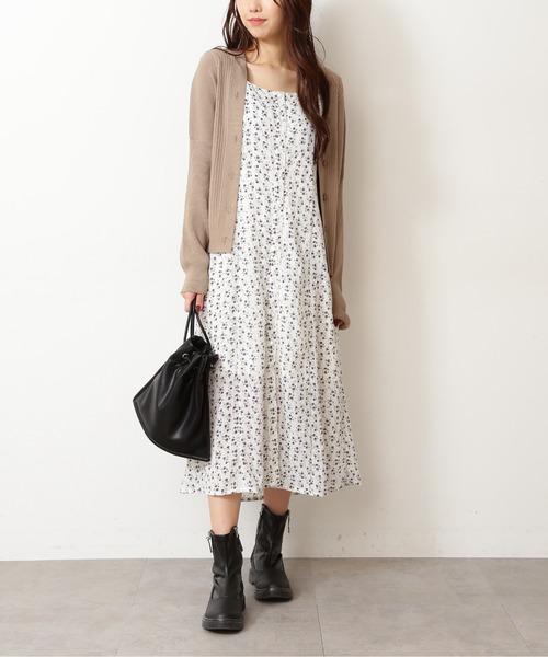 ◆バッグレースアップ花柄ジャンパースカート