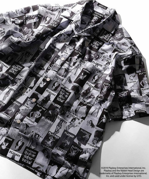 PLAYBOY×FREAK'S STORE/プレイボーイ×フリークスストア 別注総柄オープンカラーシャツ